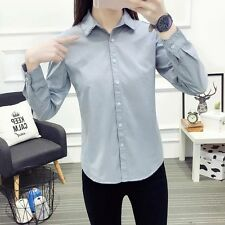 New Womens Ladies Lace Collar Long Sleeve Button Down Shirt Blouse Tops