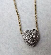 """14k White Gold Heart Pendant With Diamonds on 18"""" Yellow Gold Rope Chain"""