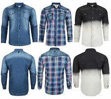 Mens Denim Shirts Soul Star Slim Fit  Collared Long Sleeved USA Causal
