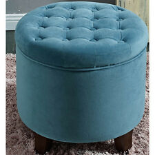 HomePop Large Round Button-Tufted Storage Ottoman