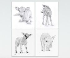 Nursery Prints, Baby FARM Animals, Set of 4 or 6 Ltd Edit art drawing prints