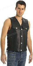 Men's Premium Cowhide Leather Vest with Side Laces and Buffalo Snaps - Black