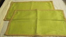 "2 POTTERY BARN LINEN JUTE BRAID LUMBAR PILLOW COVERS  SPRING GREEN  16"" x 26"""
