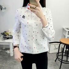 New Womens Ladies Hat Print Long Sleeve Button Down Shirt Blouse Tops 3 Colors
