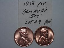 wheat penny 1956 P & D SET NICE RED BU 1956-D,1956-P LOT #9 UNC LINCOLN CENT