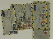 Vintage Postal History Lot Foreign BRAZIL To USA Registered Air Mail Covers 5PCS