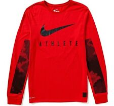 NIKE Mens CAMO BURNOUT L/S Dri-FIT Training Tee * UNIVERSITY RED/BLACK - L * NWT