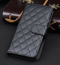 Black Wallet Case Grid Folio Soft Sheepskin PU Leather Case For Note 4{xT56