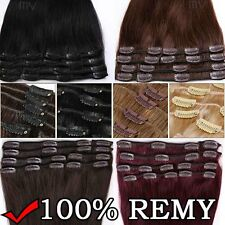 """USPS Clips In Remy 100% Human Hair Full Head Extensions 10 13 16 18 20 22 """" II25"""