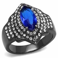 12x6mm Marquise Royal Blue CZ Center in Light Black IP Stainless Steel Ring