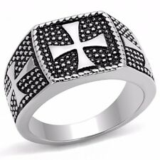 Three Simple Medieval Cross 316 Stainless Steel Mens Casting Ring SZ 8-13