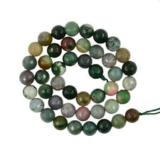 6mm 8mm Natural Green Grass Moss Agate Round Faceted Gemstones Loose Beads 15""