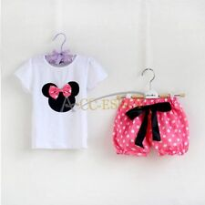 2PCS Baby Girl Minnie Mouse Clothes Outfit - Top & Shorts  Pants Tutu Skirt Set
