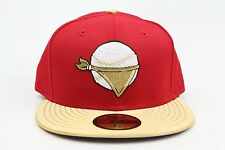 Quad Cities River Bandits Red Metallic Gold MiLB New Era 59Fifty Fitted Hat Cap