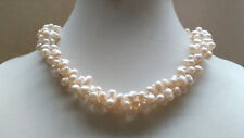 3 rows genuimed natural freshwater pearl necklace oval side drille twist choker