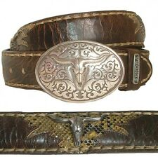NEW SENDRA LEATHER BELT BUCKLES PYTHON WESTERN Brown