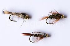 18 Gold Head Nymphs Trout Fly fishing Flies GRHE, Diawl Bach, Prince Nymph