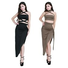 Women Ladies Halter Evening Cocktail Split Dress Backless Crop Top with Skirt