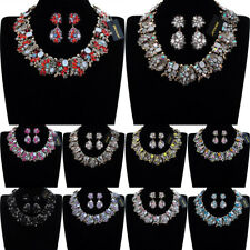 Vintage Gold Chain Glass Crystal Chunky Choker Statement Bib Necklace Earrings