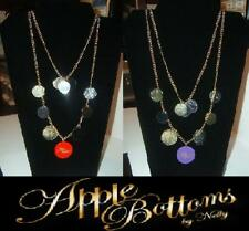 Apple Bottoms Necklace Circles - Pick Red or Purple NEW