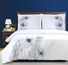 Duvet Cover Set With Pillow Shams, Embroidered Feather PEACOCK Design