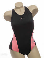 "Speedo Endurance+ Muscleback Black & Pink Bust Support Swimsuit 34"" 40"""