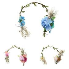 Hot Women Wedding Flower Rattan Wreath Crown Headband Floral Garland Hair band