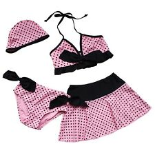 4Pcs Girls Polka Dot Swimwear Bikini Tankini Swinsuit Swimming Costume SZ 3-10Y