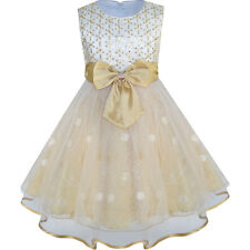 Flower Girls Dress Bow Tie Champagne Sequin Wedding Pageant Size 2-10 Formal