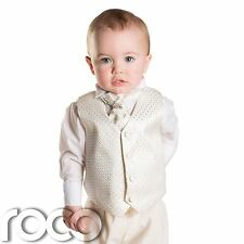 Baby Boys Ivory Waistcoat Suit, Page boy Suits, Boys Wedding Suits, 3m - 6yrs