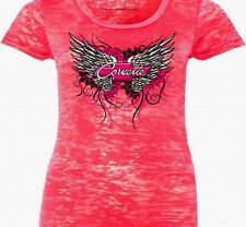 LADIES CORVETTE T-SHIRT HOT PINK BURNOUT WINGS SHIRT S-XL25.002XL FS NEW