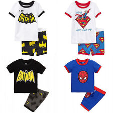 Summer Spider-man Batman Kids Boys Tee T-shirts Shorts Set Outfits Clothes 1-8Y