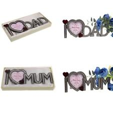 Fashion Freestanding Rhinestone Heart Photo Picture Frame Sweet Mum Dad Gift