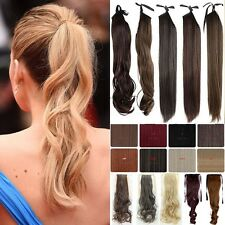 Real Thick Drawstring Ponytail Clip in Hair Extensions Straight Curly Wavy Lcc