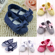 Toddler Baby Girl Bow Crib Shoes Newborn Prewalker Non-slip Kids Soft Sole