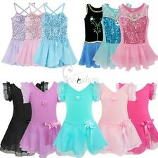 Girls Gymnastics Ballet Dresses Leotard Tutu Skirt Party Dance Wear Costume 2-12