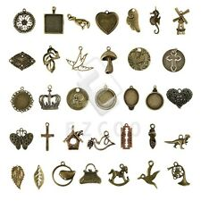 2-100pcs Antique Brass Spacer Charm Pendant Jewelry Findings 35 style Lots HC
