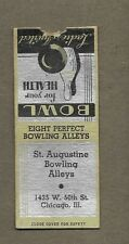 ST AUGUSTINE BOWLING ALLEYS CHICAGO ILL BOBTAIL MATCHCOVER A514