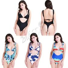 2PCS Womens Halter Push-up One-piece Swim Dress Swimsuit Bikini Swimwear Tankini
