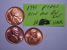 wheat penny 1941D,1941S SET NICE RED BU 1941-S 1941-D,1941-P LOT 3 LINCOLN CENTS