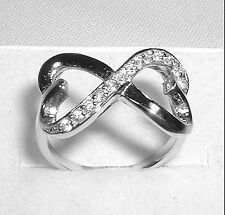 Infinity Connected Hearts Silver Ring Size 5,6,7,8