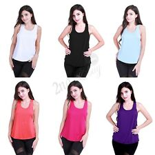 Sports Vest Tank Fitness Gym Stretch Workout Women Sleeveless Blouse Top T-Shirt