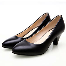 2017 Women's Genuine Leather med heels Classic Work OL Pumps Shoes Plus Size