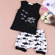 2PCS Toddler Baby Boys Summer Shark Outfits T-Shirt Tops Pants Kids Clothes suit