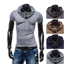 1Pcs Mens Casual Polo T-Shirt Tops V Neck Muscle Hoodie Leisure Short Sleeve