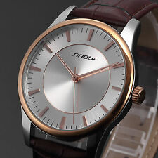 Couple Fashion Quartz Lady Mens Analog Brown Leather Lover Forever Wrist Watch
