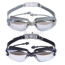 Unisex Swimming Goggles Anti Fog UV Protection Nose Clip Attached Ear Plugs Case