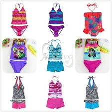 Girls Kids Halter Tankini Swimwear Bikini Swimsuit Swimming Costume Size 3-16