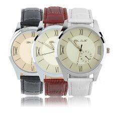 New Quartz Wrist Watch With Analog Round Dial And Leather Watch Band Cool I~