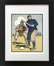 Antique 1900's BASEBALL Bat Catcher Mitt Player GAME Sports ART Print / Canvas